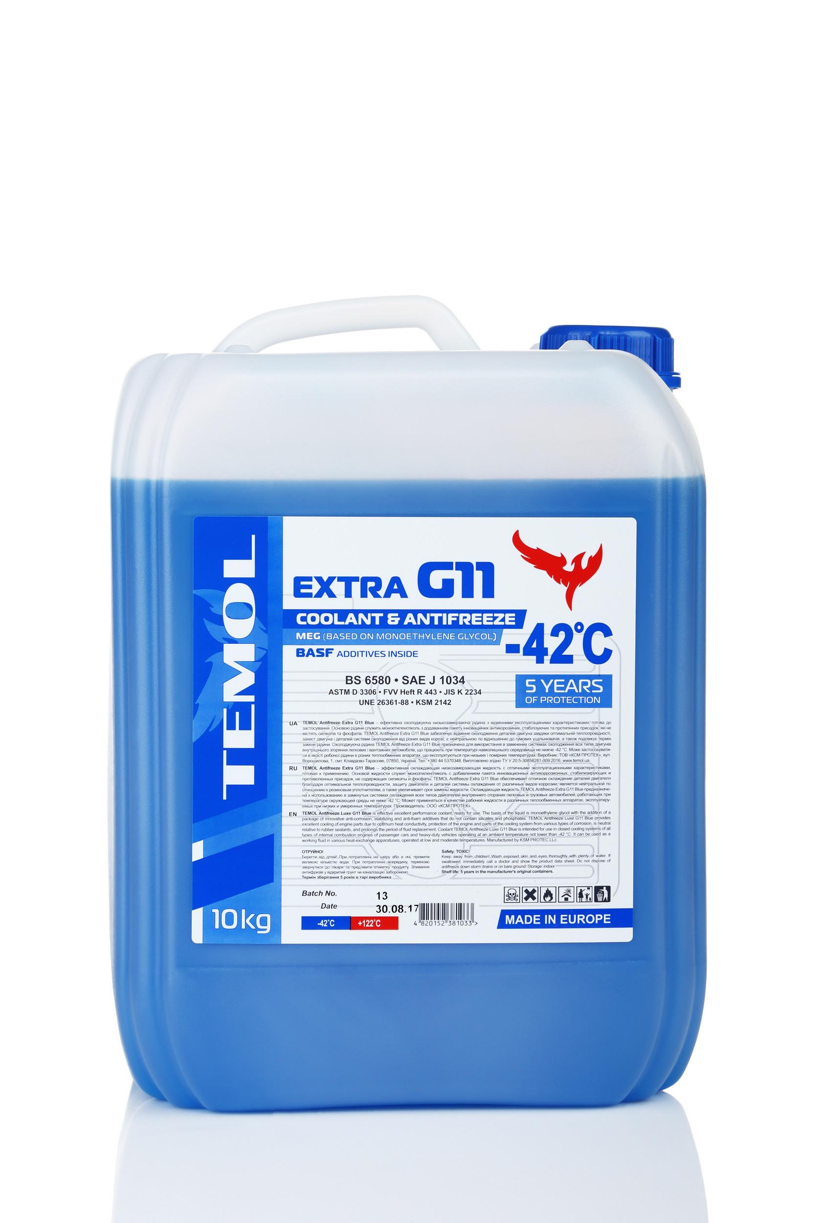 TEMOL ANTIFREEZE EXTRA G11 BLUE - 10L - Temol, официальный интернет-магазин