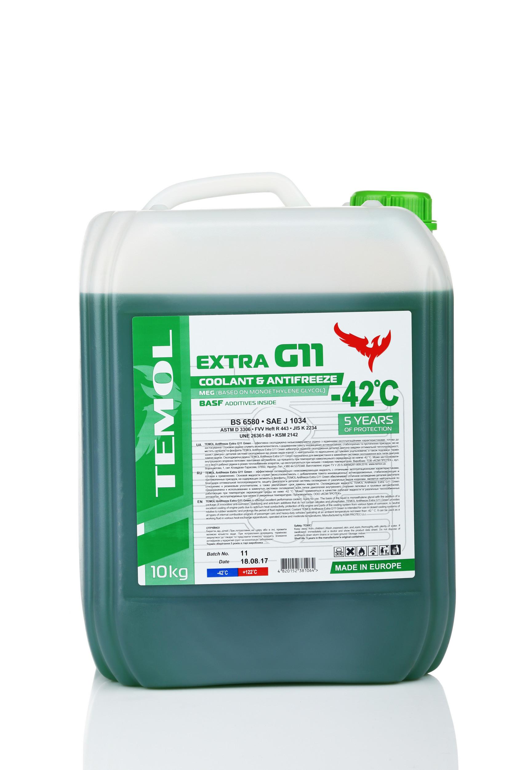 TEMOL ANTIFREEZE EXTRA G11 GREEN - 10L - Temol, официальный интернет-магазин