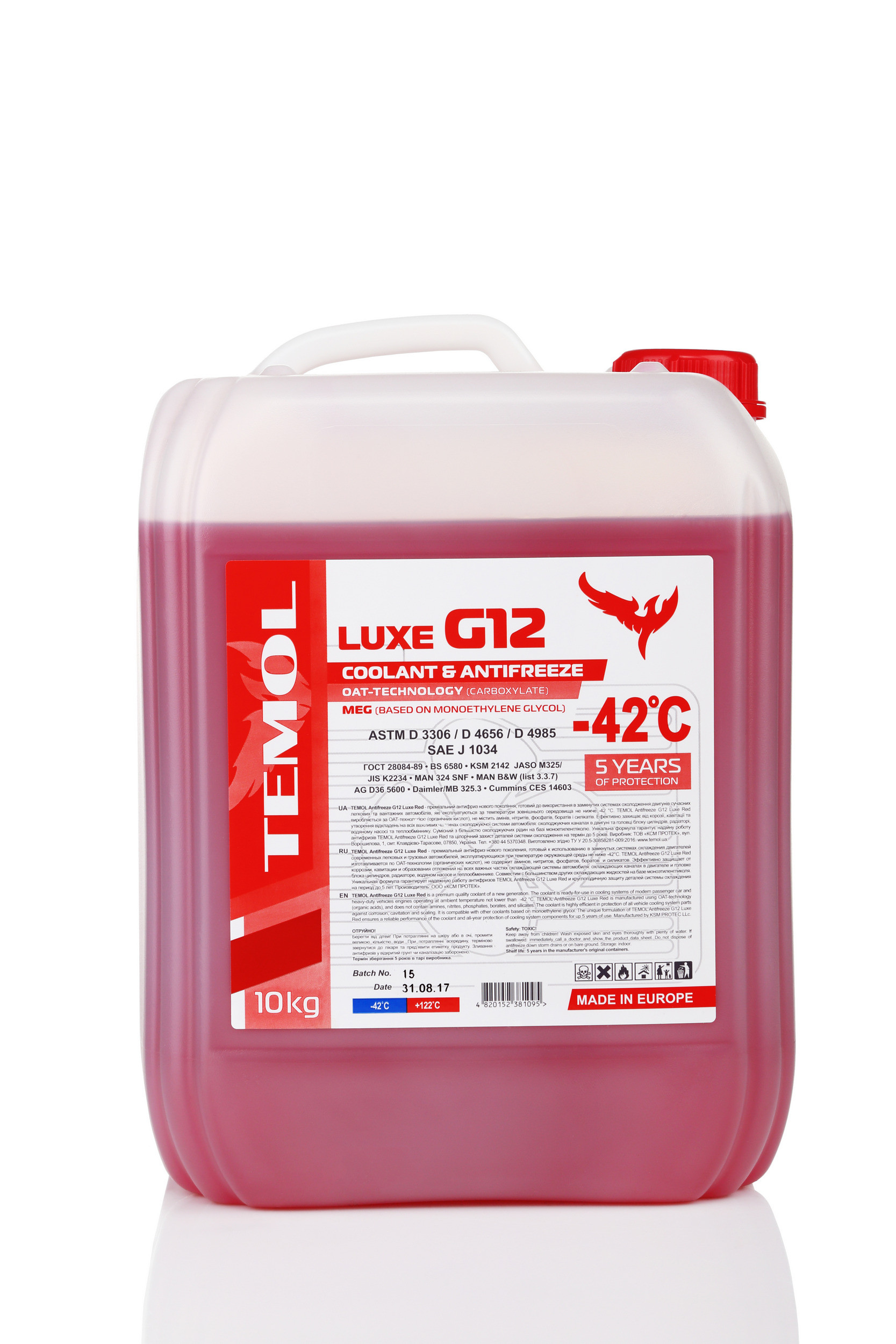 TEMOL ANTIFREEZE LUXE G12 RED - 10L - Temol, официальный интернет-магазин